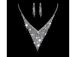 Plesový set náušnic a náhrdelníku se zirkony CS000056