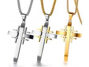Řetízek s přívěskem Jerusalem Cross z chirurgické oceli PN000090 (Barva Zlatá)