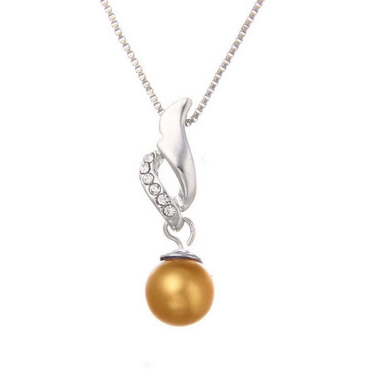 Ziskoun řetízek s přívěskem perly a zirkony PN00002 Barva  Žlutá 9f7a1510ba7