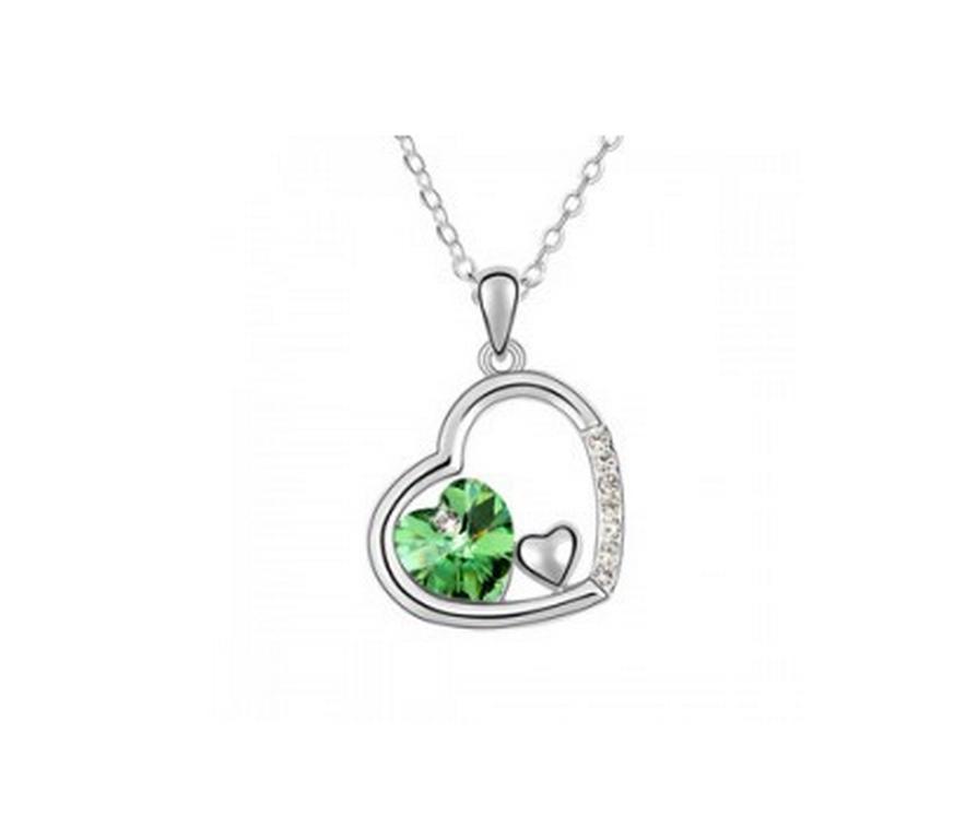 Ziskoun řetízek s přívěskem trojitého srdce PN00017 Barva  Zelená 5b37d3c330