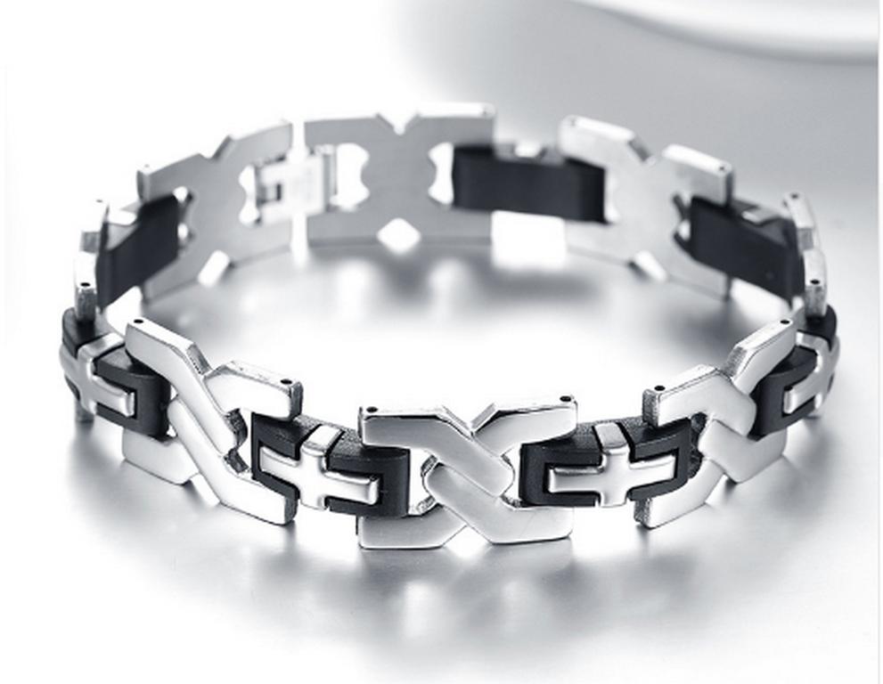 Ziskoun pánský náramek xXx ve stříbrno černém provedení z chirurgické oceli SSB00001