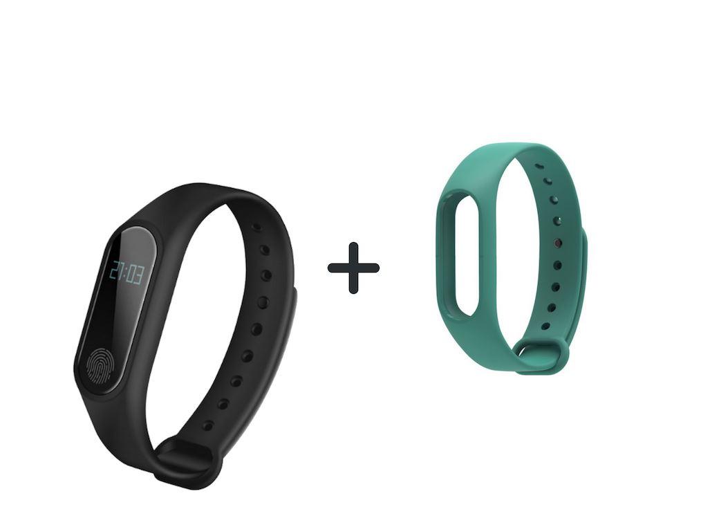 Aligator M2 fitness náramek černý + barevný řemínek dle výběru Barva: Zelená