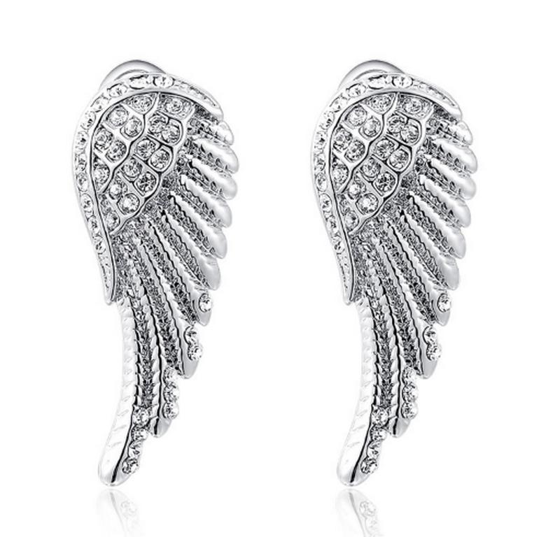 Ziskoun Náušnice Andělská křídla ve stříbrném provedení z chirurgické oceli  a zirkony SE000049 9906fca72cb