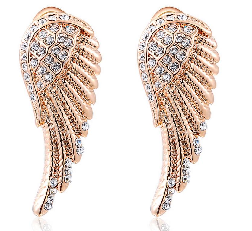 Ziskoun Náušnice Andělská křídla v bronzovém provedení z chirurgické oceli a zirkony SE000050