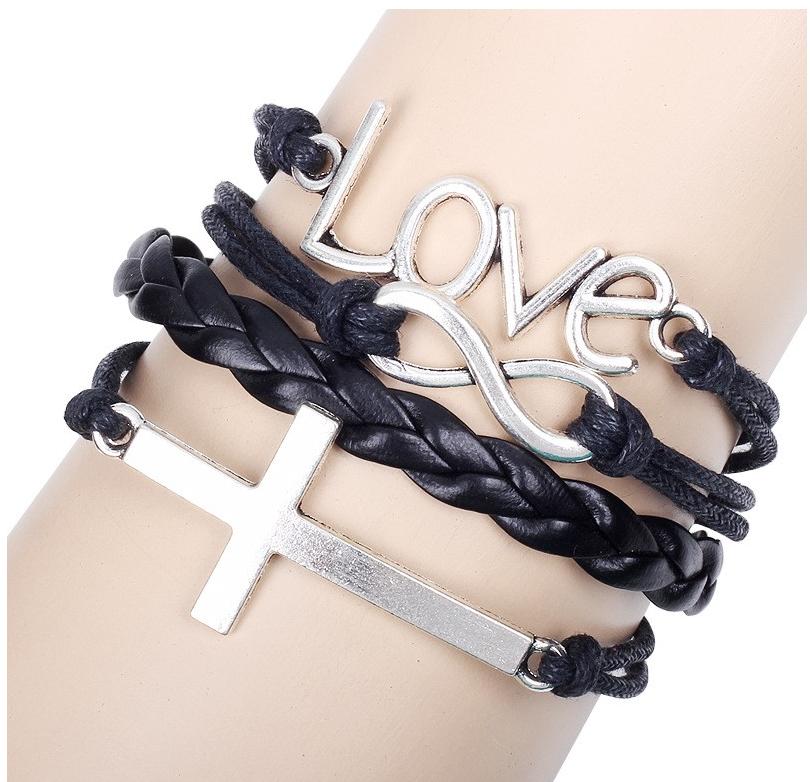 Ziskoun Náramek z proplétané kůže s křížem Love Black SSB00012