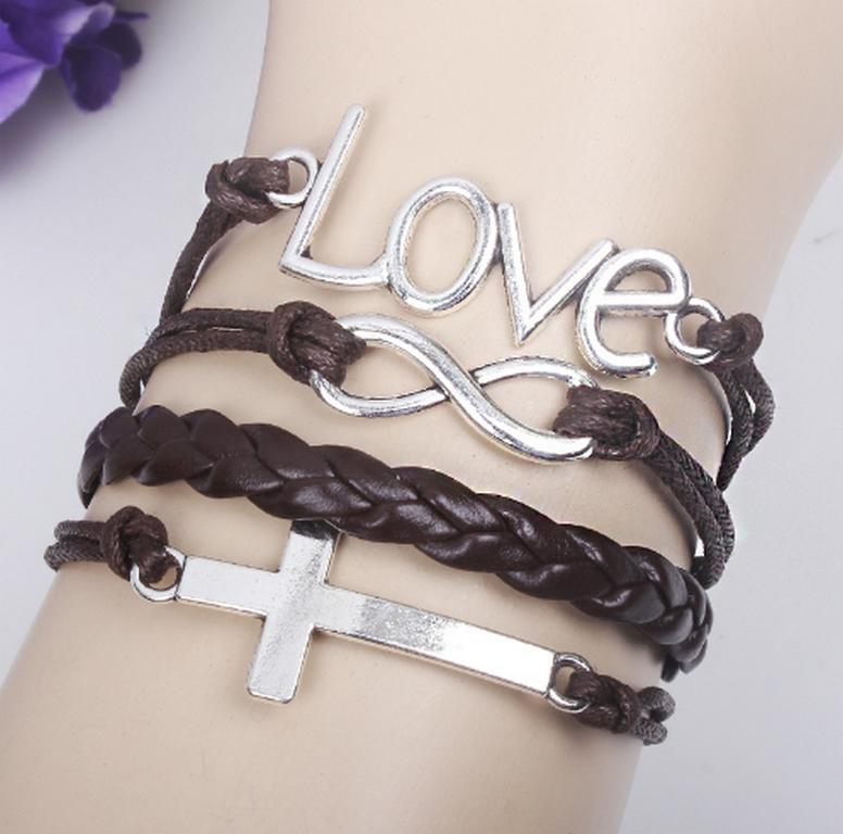 Ziskoun Náramek z proplétané kůže s křížem Love Brown SSB00013