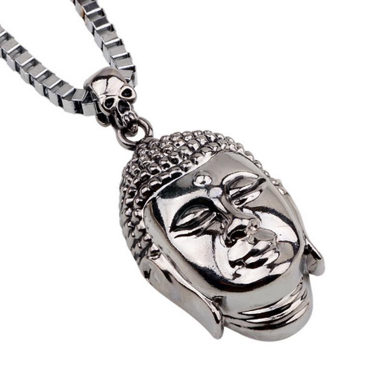 Ziskoun Náhrdelník s přívěskem Budhy a lebkami z chirurgické oceli PN0000116