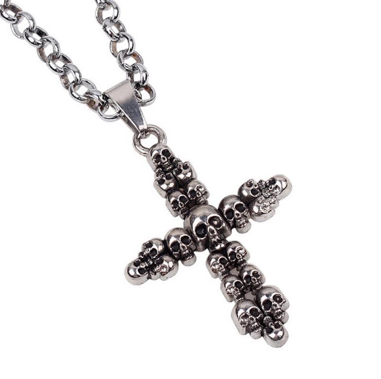 Ziskoun Náhrdelník s přívěskem kříže z lebek z chirurgické oceli PN0000119
