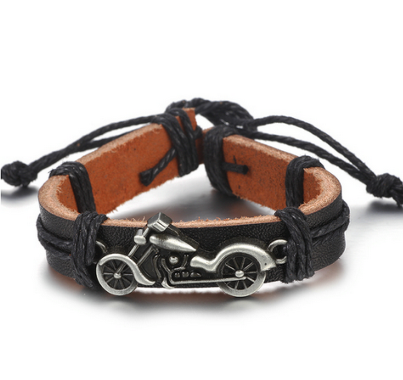 Ziskoun Náramek z pravé kůže s přívěskem motorky z chirurgické oceli SSB00046 Barva: Stříbrná