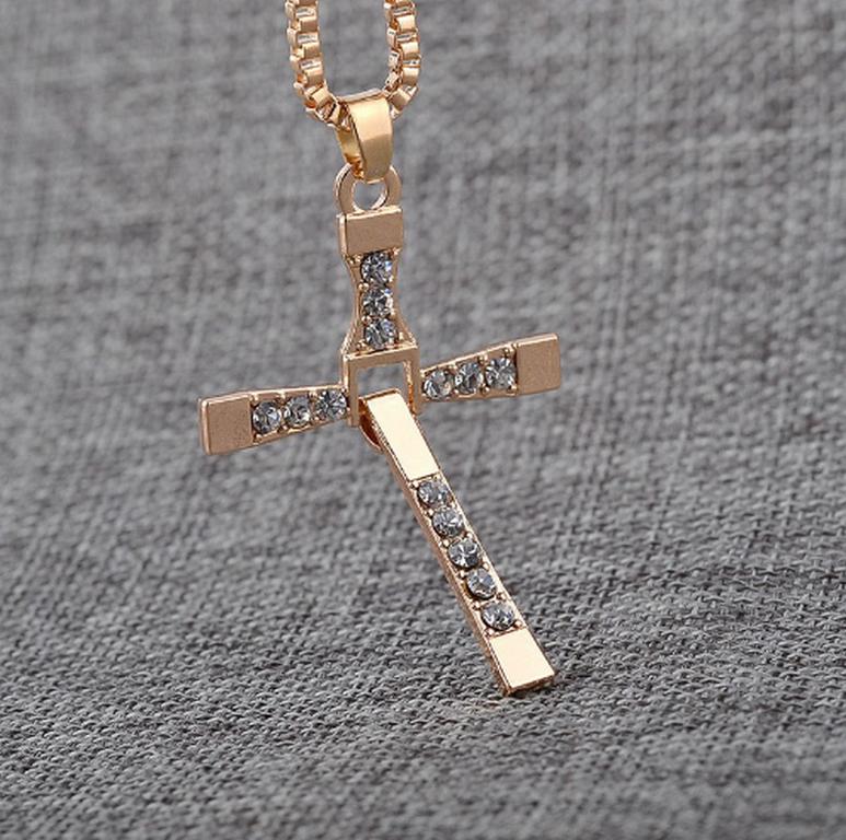 Ziskoun Řetízek na krk s přívěskem kříže z chirurgické oceli PN0000127 Barva: Zlatá