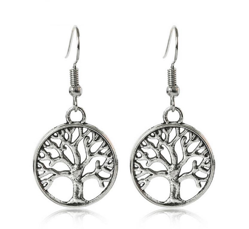 Ziskoun Náušnice strom života z rhodiované bižuterie CE000041
