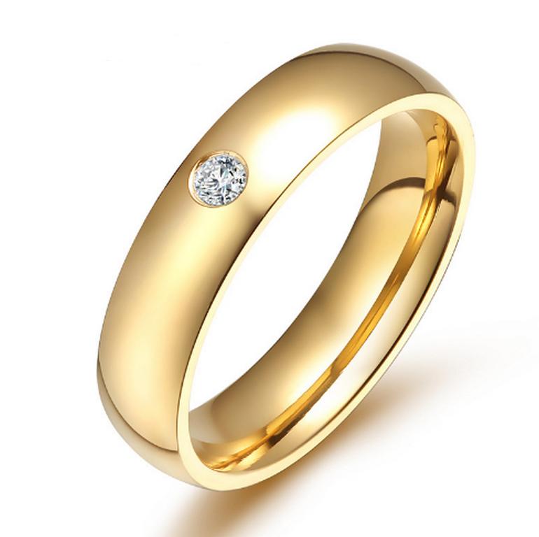 Ziskoun Dámský prsten z chirurgické oceli se zirkonem v imitaci diamantu- zlatý SR000022 Velikost: 5