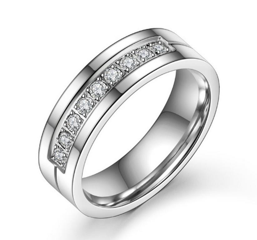 2411b2016 Ziskoun Dámský prsten s malými zirkony z chirurgické oceli SR000029  Velikost: 6