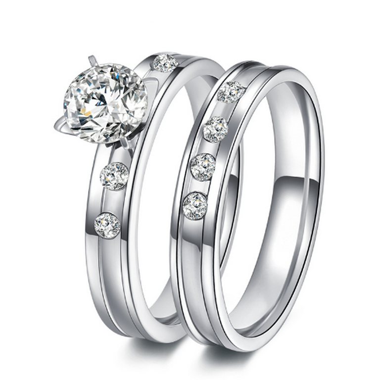 74486b4da Ziskoun Dvojitý prstýnek z chirurgické oceli ve stříbrném provedení se  zirkony SR000046 Velikost: 10