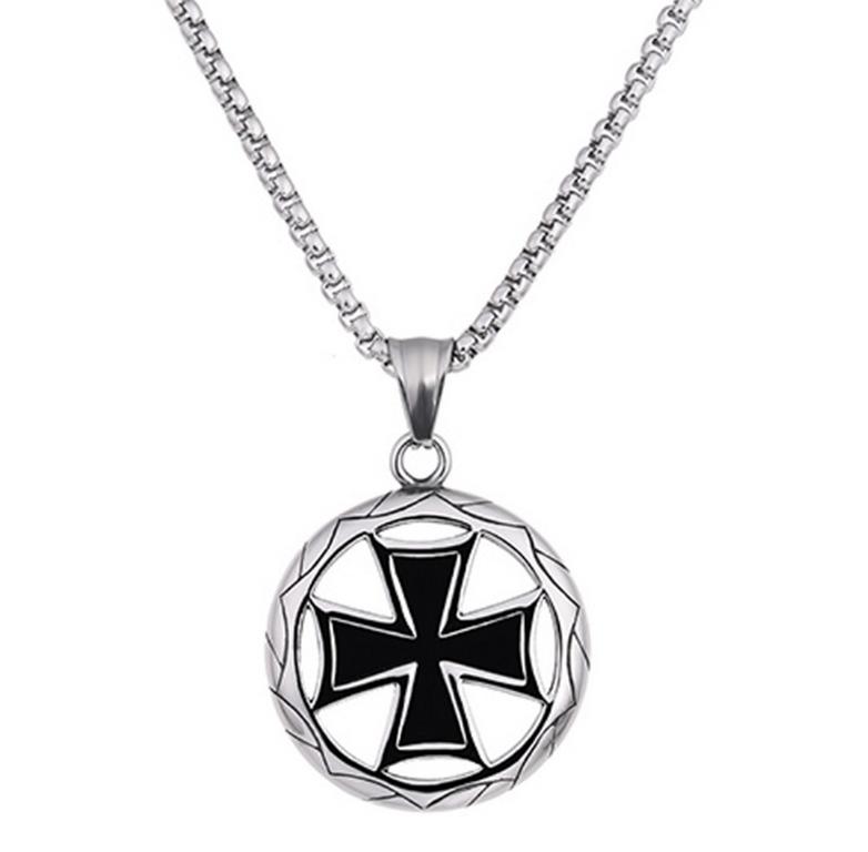 Ziskoun Stříbrný náhrdelník s přívěskem z chirurgické oceli- Maltézský kříž PN0000135
