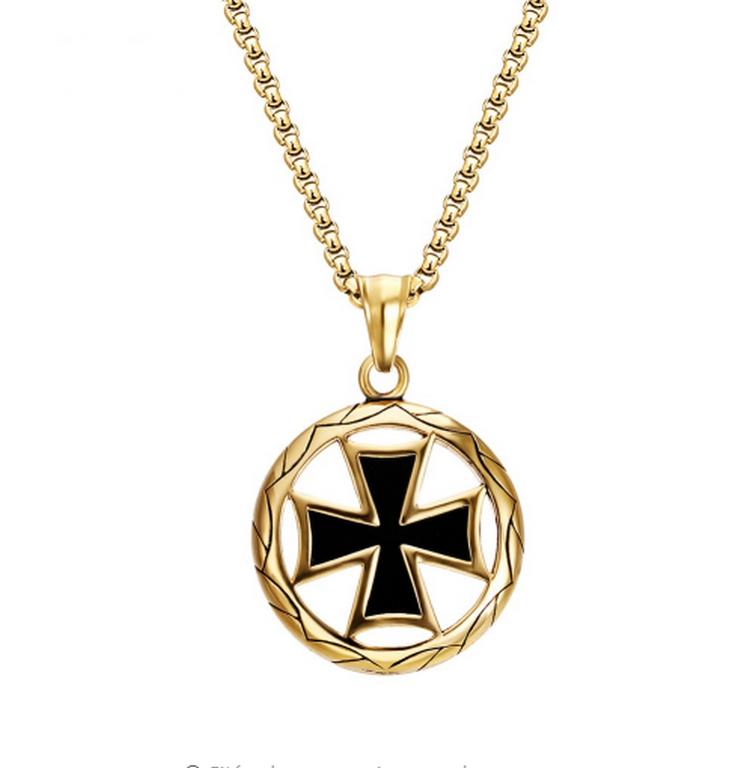 Ziskoun Zlatý náhrdelník z chirurgické oceli- Maltézský kříž PN0000136