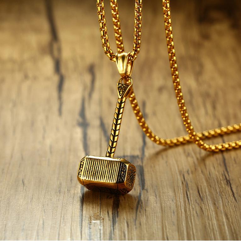 Ziskoun Náhrdelník Thorovo kladivo z chirurgické oceli- zlatý PN0000141