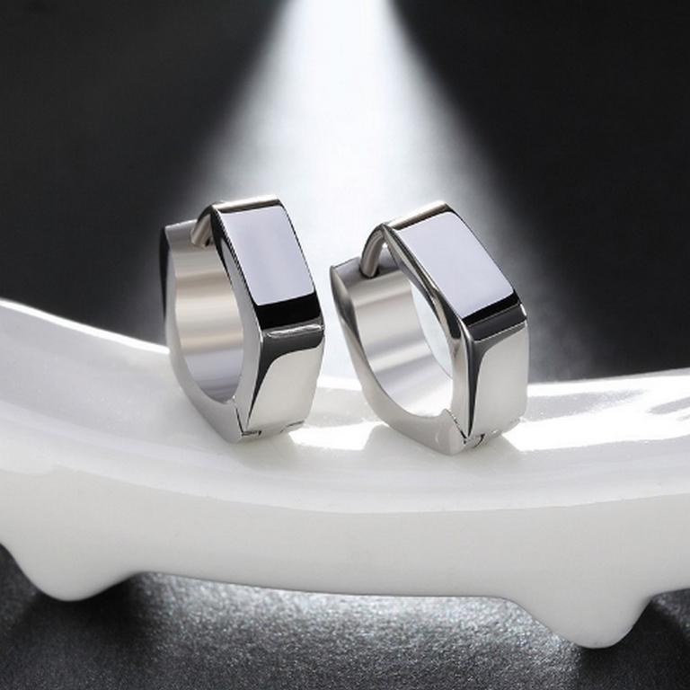 Ziskoun Dámské hranaté náušnice z chirurgické oceli- stříbrné SE000070