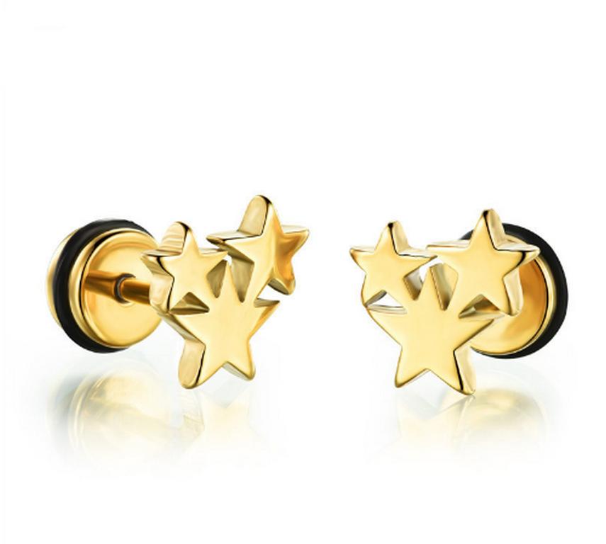 Levně Pecičkové náušnice 3 hvězdy z chirurgické oceli- 3 barvy SE000074 Barva: Zlatá