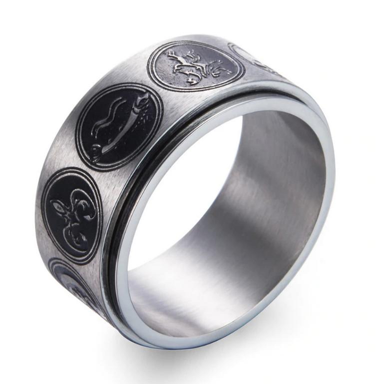 Ziskoun Prsten z chirurgické oceli se znaky rodů Games of Thrones-Hra o trůny SR000064 Velikost: 7