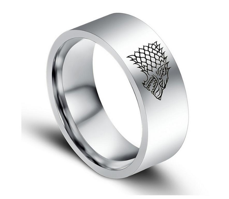 Ziskoun Stříbrný prsten z chirurgické oceli se Stark house z Games of Thrones-Hra o trůny SR000065 Velikost: 7