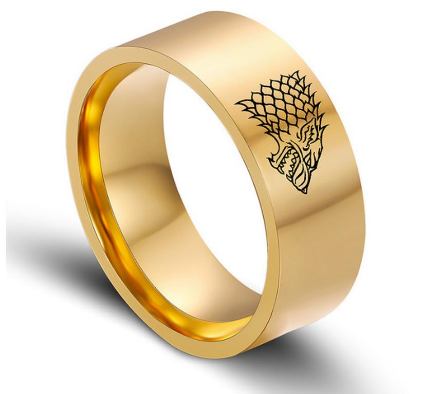Ziskoun Zlatý prsten z chirurgické oceli se Stark house z Games of Thrones-Hra o trůny SR000066 Velikost: 7