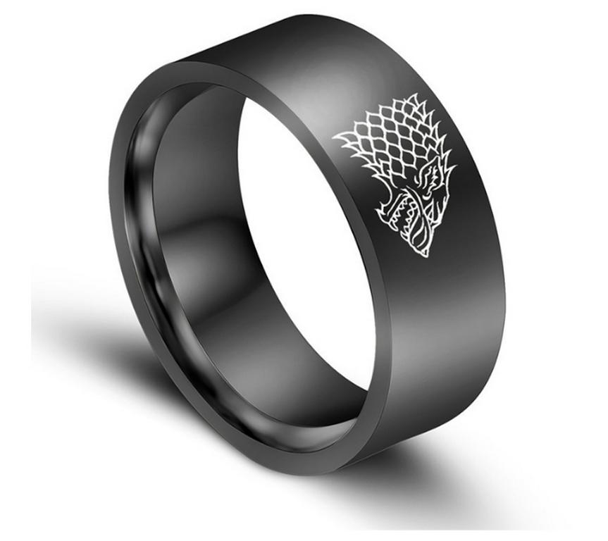 Ziskoun Černý prsten z chirurgické oceli se znakem Stark house z Games of Thrones- Hra o trůny SR000067 Velikost: 7