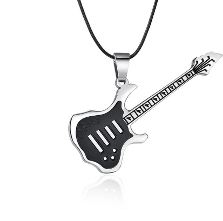 Ziskoun 3D náhrdelník s přívěskem kytary z chirurgické oceli na provázkovém řetízku PN0000157 Barva: Černá