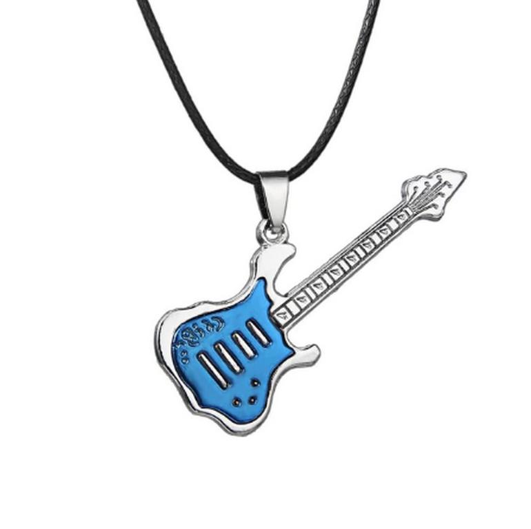 Ziskoun 3D náhrdelník s přívěskem kytary z chirurgické oceli na provázkovém řetízku PN0000157 Barva: Modrá