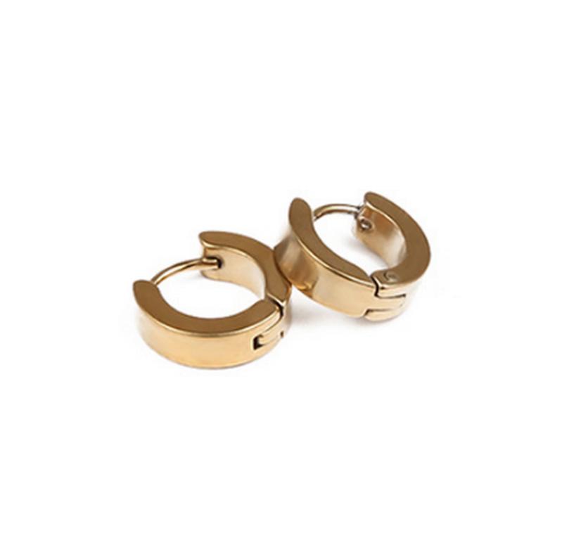 Ziskoun Kruhové decentní náušnice z chirurgické oceli SE000077 Barva: Zlatá