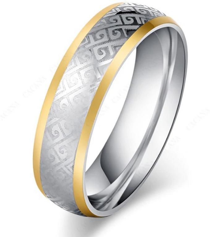 Ziskoun Masivní prsten z chirurgické oceli z ornamenty SR000088 Velikost: 7