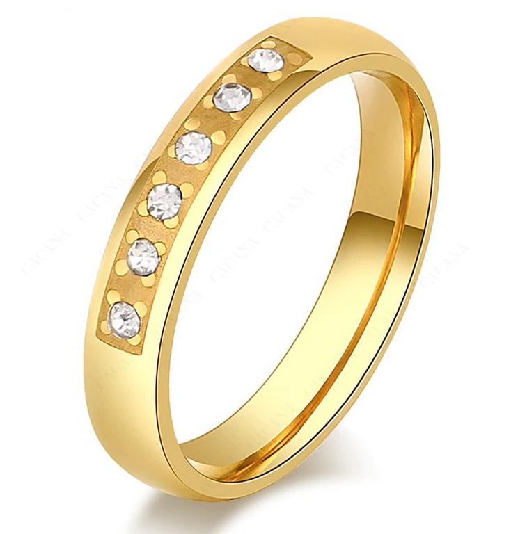 ce1dcbc08 Ziskoun Dámský zlatý prsten z oceli osázen drobnými zirkony SR000111  Velikost: 7
