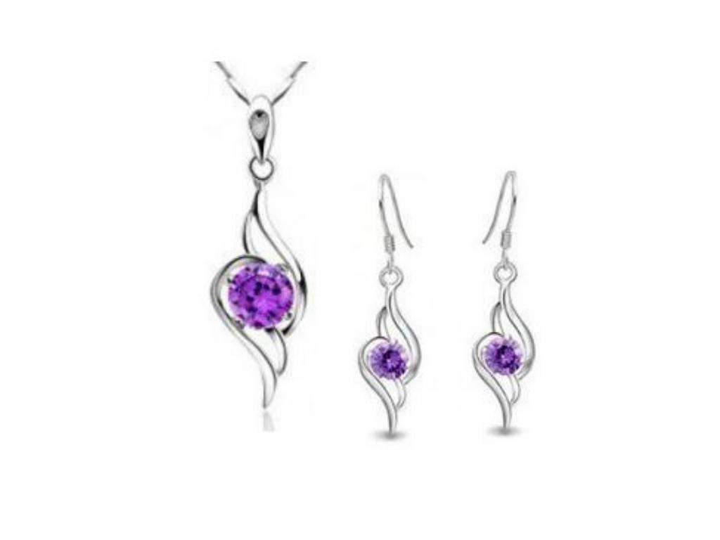 Levně Dámský set šperků Angel Wings z rhodiované bižuterie CS000068 Barva: Fialová