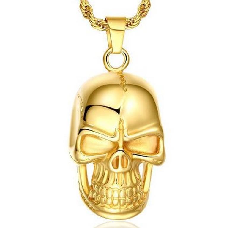 Ziskoun Zlatý přívěsek lebky s řetízkem z chirurgické oceli PN000172