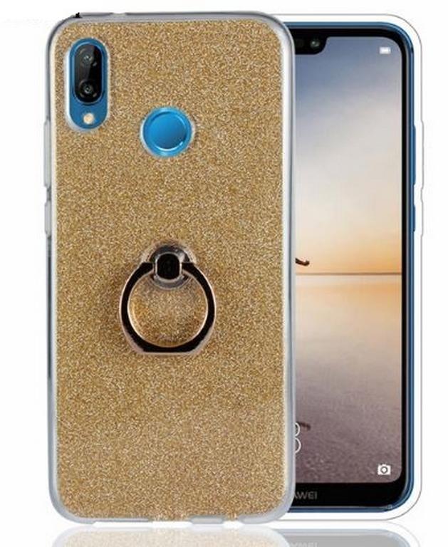 Ziskoun Silikonový lesklý zadní kryt se stojánkem pro Huawei P20 Lite PZK43 Barva: Zlatá