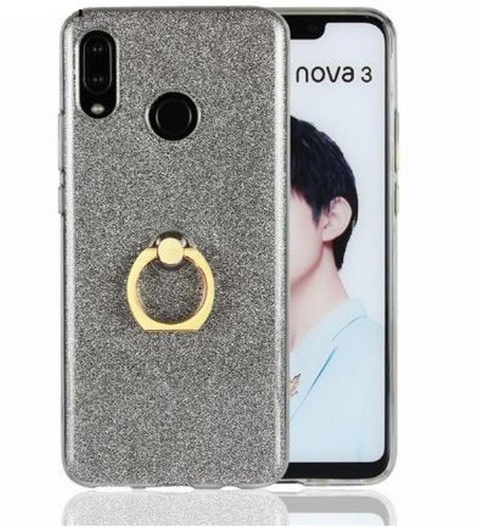Ziskoun Silikonový lesklý zadní kryt se stojánkem pro Huawei Nova 3 PZK48 Barva: Šedá