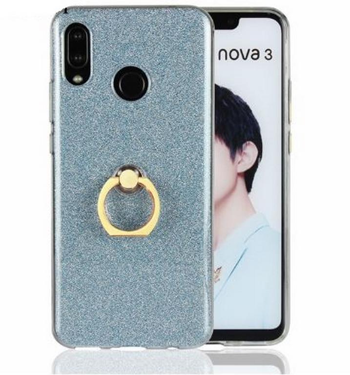 Ziskoun Silikonový lesklý zadní kryt se stojánkem pro Huawei Nova 3 PZK48 Barva: Modrá