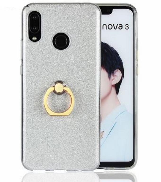 Ziskoun Silikonový lesklý zadní kryt se stojánkem pro Huawei Nova 3 PZK48 Barva: Bílá