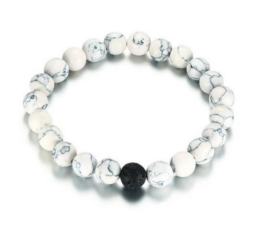 Ziskoun Dvoubarevný korálkový náramek z lávových kamenů SSB00098 Barva: Bílá