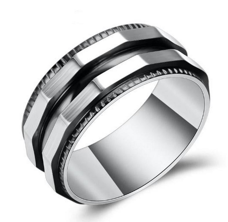 Ziskoun Prsten zkosený z chirurgické oceli- stříbrnočerný SR128 Velikost: 7