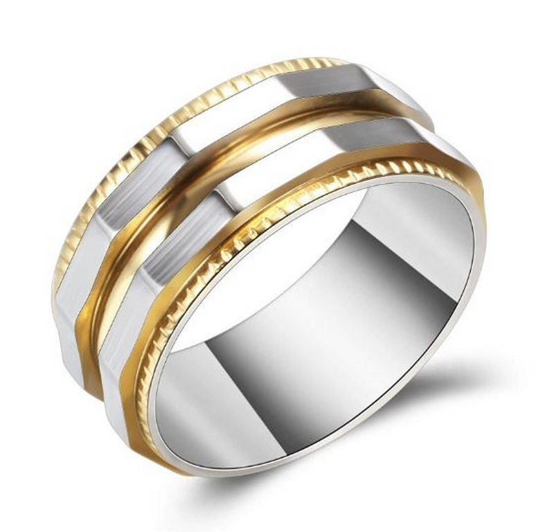 Ziskoun Prsten zkosený z chirurgické oceli- stříbrnozlatý SR129 Velikost: 7