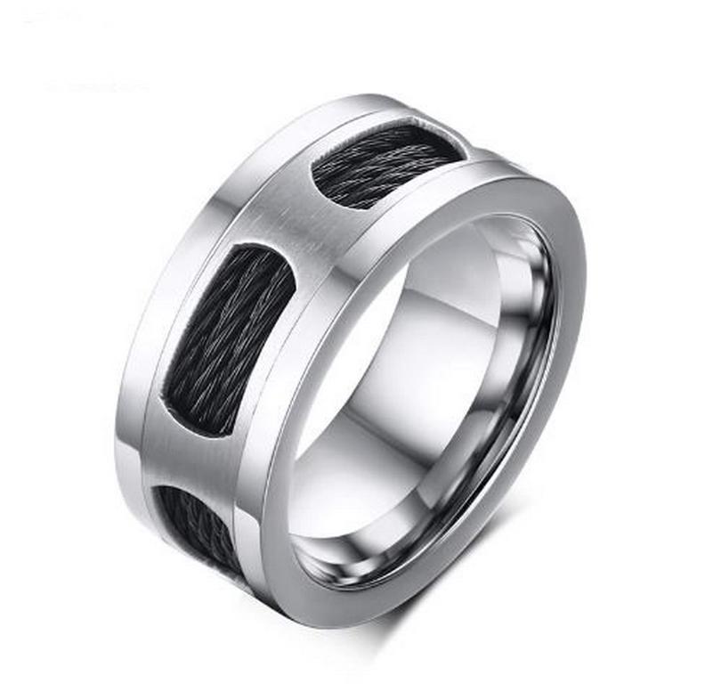 ff0f61639 Ziskoun Prsten z chirurgické oceli a černého lanka z chirurgické oceli  SR143 Velikost: 9