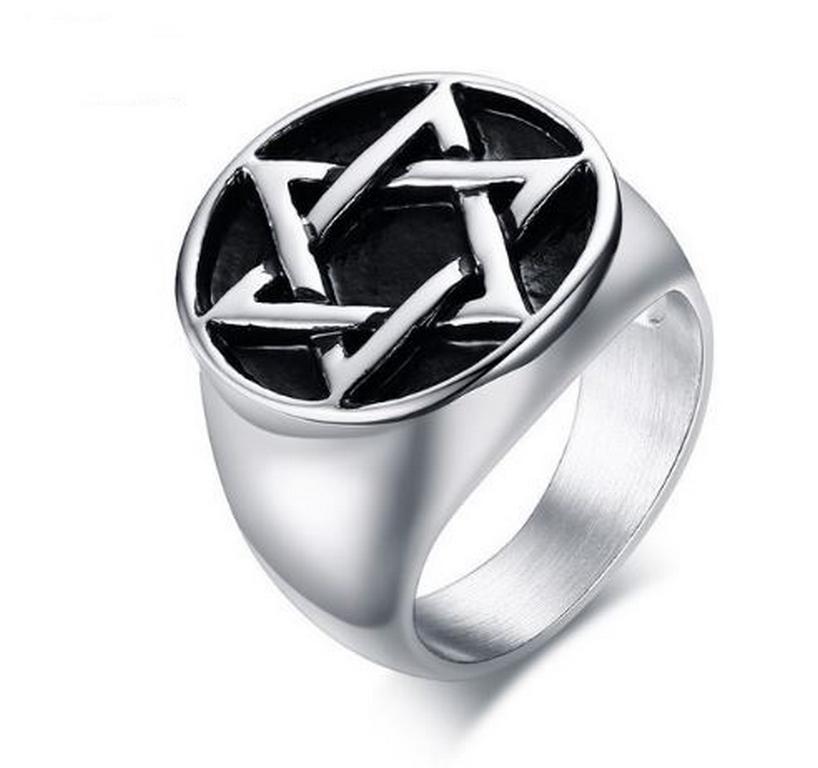 Ziskoun Davidova hvězda- prsten z chirurgické oceli SR144 Velikost: 8