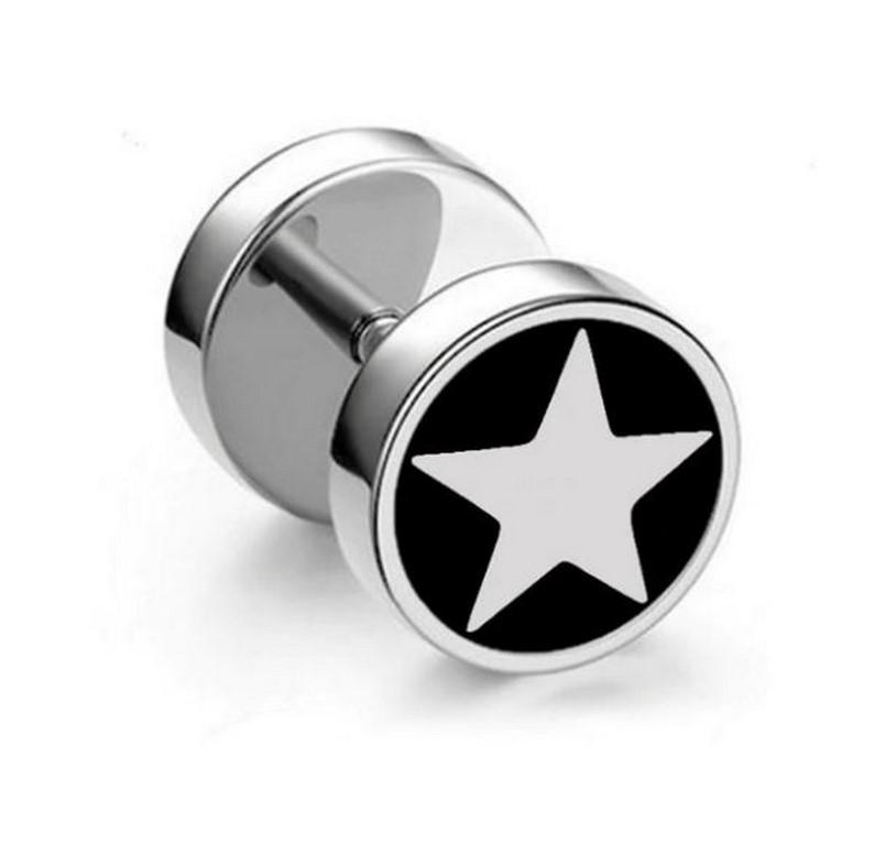 Ziskoun Náušnice z chirurgické oceli - motiv Hvězdička Barva: Černé pozadí