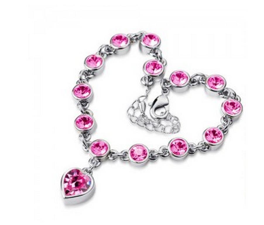7852e1d1d Ziskoun náramek se zirkony ve tvaru srdce silver CB000017 Barva: Růžová