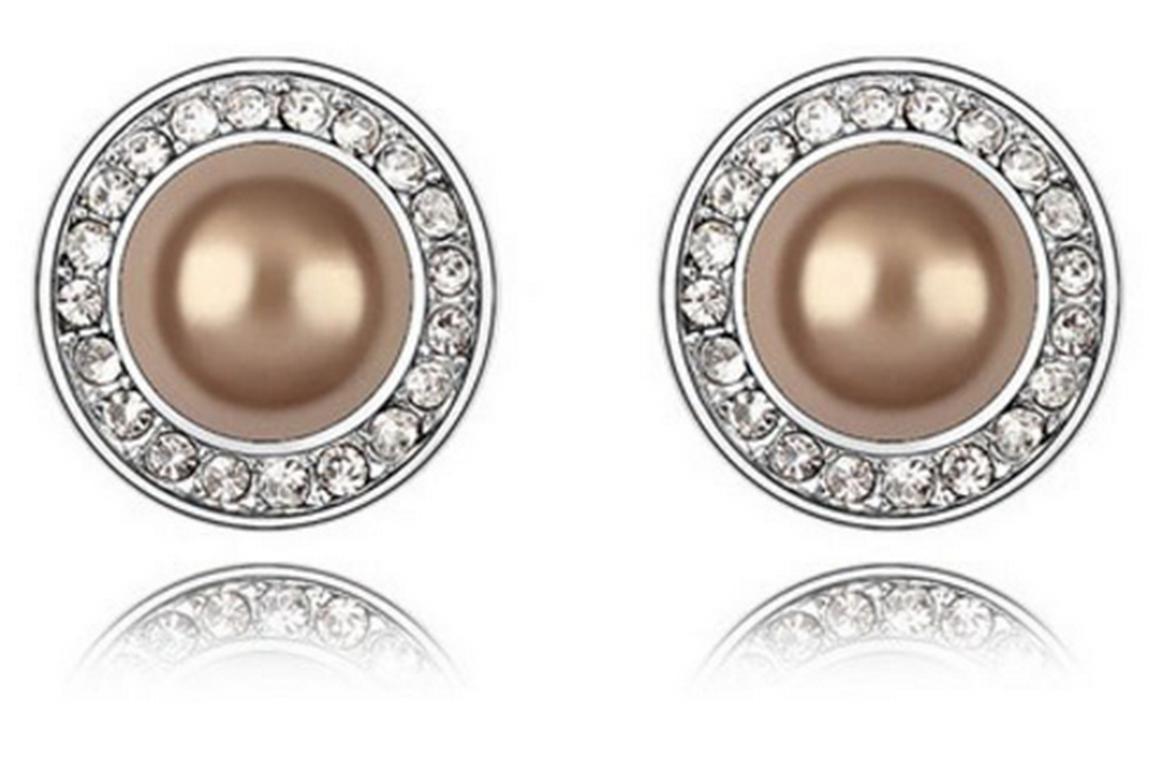 Ziskoun náušnice se zirkony a perlou CE000019 Barva: Zlatá