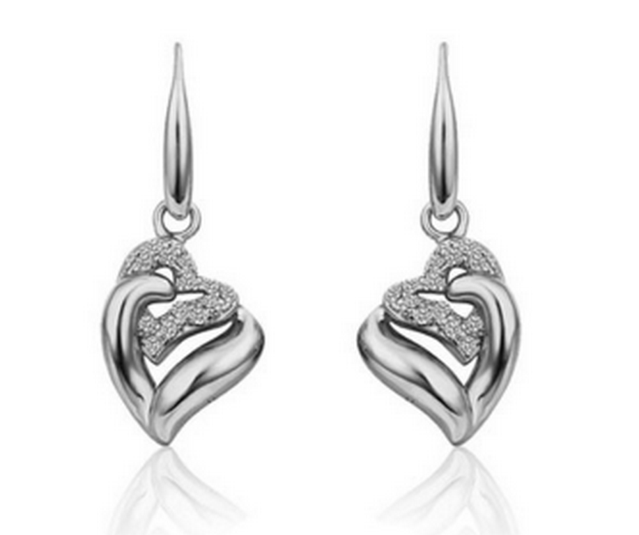 Ziskoun náušnice Double Heart Dangle CE000034 Barva: Stříbrná