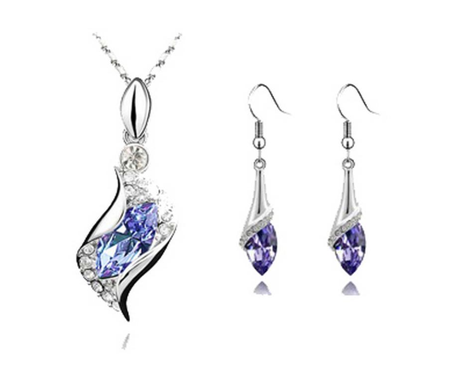 Levně set náušnic a řetízku s přívěskem Water drop silver CS00003 Barva: Fialová- světlá