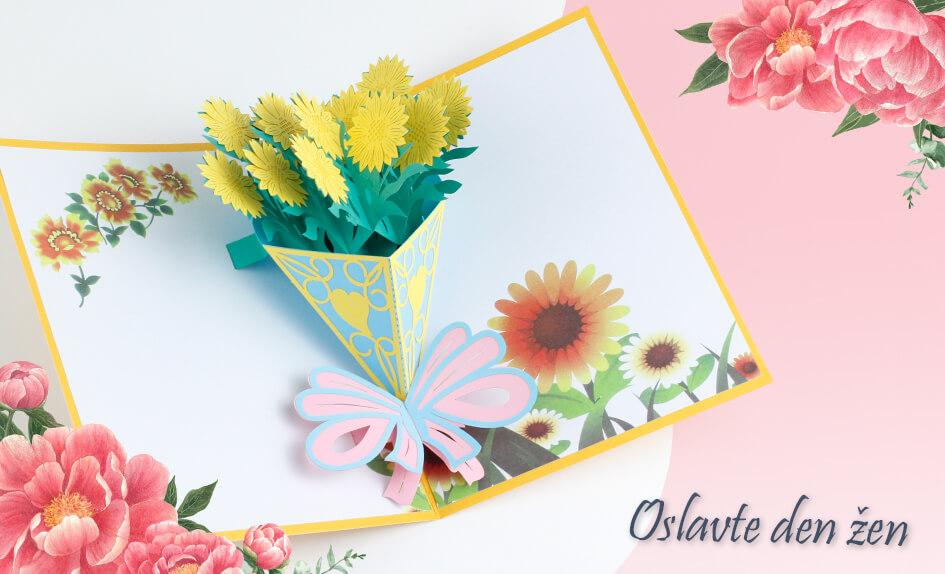 3D přání Kytice žlutých slunečnic - Mezinárodní den žen - MDŽ