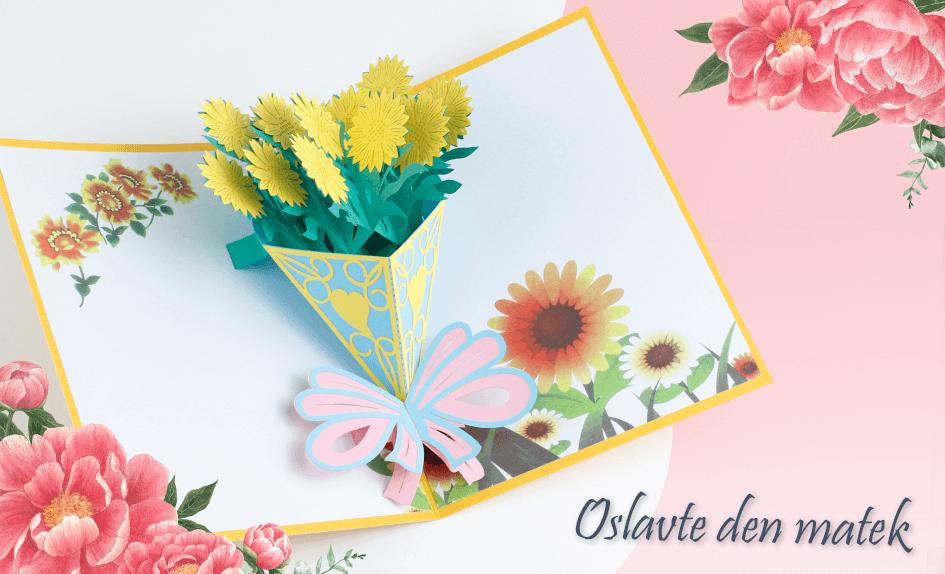 3D přání Kytice slunečnice - kytice žlutých slunečnic